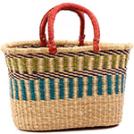 African Basket - Ghana Bolga - Oval Shopping Basket - 17.5 Inches Across - #75296