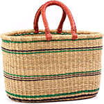 African Basket - Ghana Bolga - Oval Shopping Basket - 17.5 Inches Across - #75300