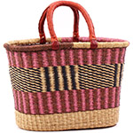 African Basket - Ghana Bolga - Oval Shopping Basket - 17.5 Inches Across - #75302