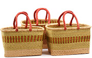 African Basket - Ghana Bolga - Nesting Set of 3 Rectangular Shopping Baskets #75307
