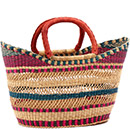 African Basket - Ghana Bolga - Petal Shopping Basket - 17 Inches Across - #75336
