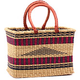 African Basket - Ghana Bolga - Large Rectangular - 16 Inches Across - #75525