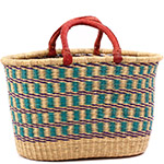 African Basket - Ghana Bolga - Oval Shopping Basket - 17.5 Inches Across - #75528