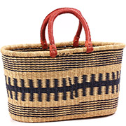 African Basket - Ghana Bolga - XL Oval Storage Basket - 19.5 Inches Across - #75529