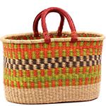 African Basket - Ghana Bolga - Oval Shopping Basket - 17 Inches Across - #75530