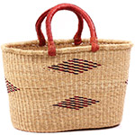 African Basket - Ghana Bolga - Oval Shopping Basket - 17 Inches Across - #75531