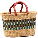 African Basket - Ghana Bolga - Oval Shopping Basket - 17.5 Inches Across - #75534