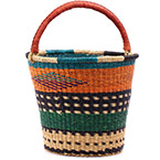 African Basket - Ghana Bolga - Pail - 13 Inches Across - #75548