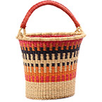 African Basket - Ghana Bolga - Pail - 13 Inches Across - #75549