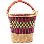 African Basket - Ghana Bolga - Pail - 13 Inches Across - #75550