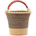African Basket - Ghana Bolga - Pail - 14 Inches Across - #75551