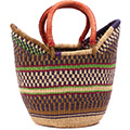 African Basket - Ghana Bolga - Medium Yikene Tote - 15 Inches Across - #75824