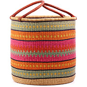 African Basket - Ghana Bolga - Laundry Hamper, Open Top Extra Large - 20.5 Inches Across - #75959