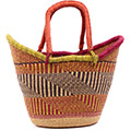 African Basket - Ghana Bolga - Medium Yikene Tote - 17.5 Inches Across - #77049