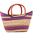 African Basket - Ghana Bolga - Petal Shopping Basket - 17.5 Inches Across - #77405