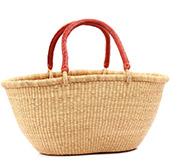 African Basket - Ghana Bolga - Gambibgo Shopping Basket - 21.5 Inches Across - #77463 Natural Grass
