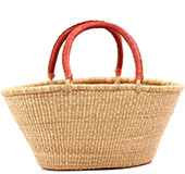 African Basket - Ghana Bolga - Gambibgo Shopping Basket - 21 Inches Across - #77464 Natural Grass