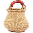 African Basket - Ghana Bolga - Mini Gambibgo Pot -  8 Inches Across - #77638 Natural Grass