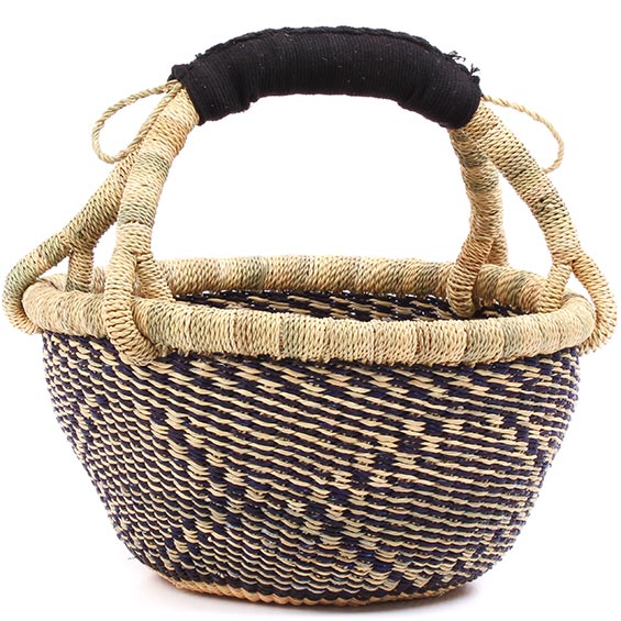 Cloth Handle Mini Market Basket - African - Ghana Bolga -  9 Inches Across - #77651