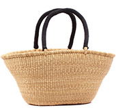 Cloth Handle Gambibgo Shopping Basket - 24 Inches Across - #77778 Natural Grass