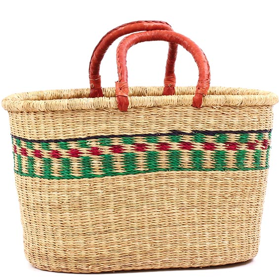 African Basket - Ghana Bolga - Oval Shopping Basket - 17.5 Inches Across - #78349