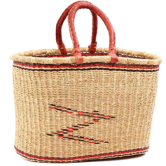 African Basket - Ghana Bolga - Oval Shopping Basket - 16 Inches Across - #78351