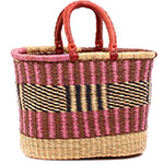 African Basket - Ghana Bolga - Oval Shopping Basket - 15.5 Inches Across - #78357