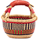 African Mini Market Basket - Ghana Bolga -  8.5 Inches Across - #78392