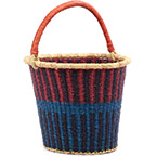 African Basket - Ghana Bolga - Pail - 13 Inches Across - #78406