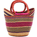 African Basket - Ghana Bolga - Medium Yikene Tote - 13.5 Inches Across - #78469