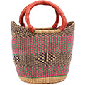 African Basket - Ghana Bolga - Medium Yikene Tote - 12 Inches Across - #78471