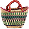 African Basket - Ghana Bolga - Mini Yikene Tote - 10.5 Inches Across - #78480