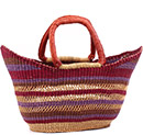 African Basket - Ghana Bolga - Petal Shopping Basket - 19.5 Inches Across - #78518