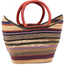 African Basket - Ghana Bolga - Petal Shopping Basket - 17.5 Inches Across - #78519