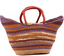 African Basket - Ghana Bolga - Petal Shopping Basket - 20 Inches Across - #78520