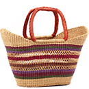 African Basket - Ghana Bolga - Petal Shopping Basket - 18 Inches Across - #78521