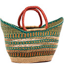 African Basket - Ghana Bolga - Petal Shopping Basket - 18 Inches Across - #78523