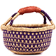 African Mini Market Basket - Ghana Bolga -  9 Inches Across - #78573