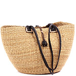 African Basket - Ghana Bolga - Shoulder Bag - 16 Inches Across - #78615 Natural Grass