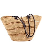 African Basket - Ghana Bolga - Shoulder Bag - 16.5 Inches Across - #78616 Natural Grass