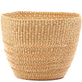 African Basket - Ghana Bolga - Storage Basket - 13.5 Inches Across - #78619 Natural Grass