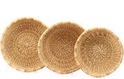 African Basket - Ghana Bolga - Nesting Set of Shallow Bowls - #78630 - Natural