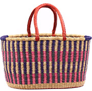 African Basket - Ghana Bolga - XL Oval Storage Basket - 22 Inches Across - #78746