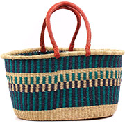 African Basket - Ghana Bolga - XL Oval Storage Basket - 22 Inches Across - #78747