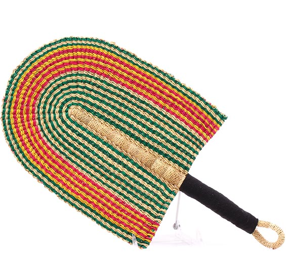 Cloth Handle Hand Fan - African - Ghana Bolga -  9 Inches Across - #78870