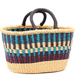 Cloth Handle Oval Shopping Basket - African Basket - Ghana Bolga - 17.5 Inches Across - #79775