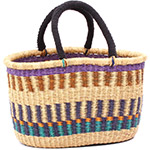 Cloth Handle Oval Shopping Basket - African Basket - Ghana Bolga - 15.5 Inches Across - #79777