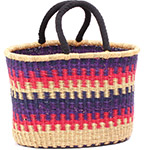 Cloth Handle Oval Shopping Basket - African Basket - Ghana Bolga - 16 Inches Across - #79778
