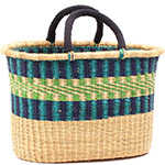 Cloth Handle Oval Shopping Basket - African Basket - Ghana Bolga - 17 Inches Across - #79779