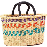 Cloth Handle Oval Shopping Basket - African Basket - Ghana Bolga - 17 Inches Across - #79780